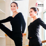 Dance practice clothes Adult female V-neck long sleeves Dance tops Cotton slim body clothing tights Dance clothes