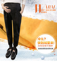 Pregnant women pants plus fertilizer XL autumn and winter plus velvet thick gold velvet wear 200-300 kg Harlan leggings
