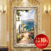 欧式手绘油画定制地中海风景别墅客厅挂画过道壁画玄关竖版装饰画