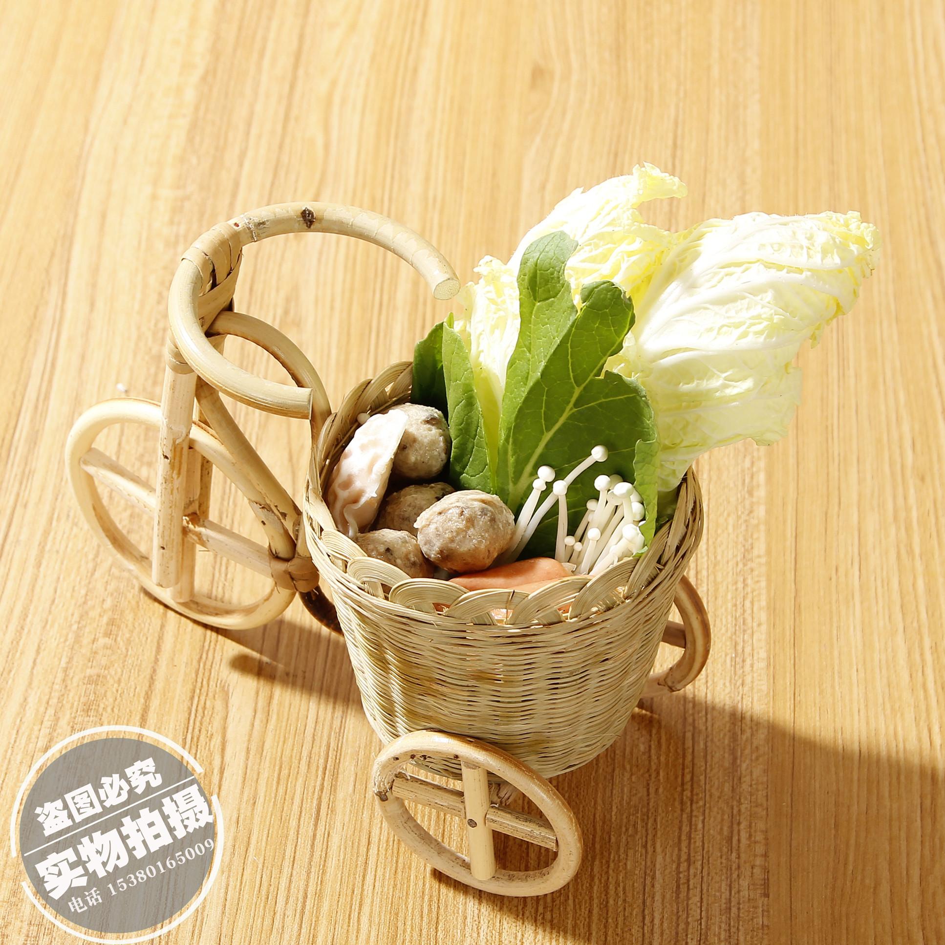 创意火锅店菜篮子特色餐具用品竹编凉菜盘子自行车三轮车蔬菜餐盘