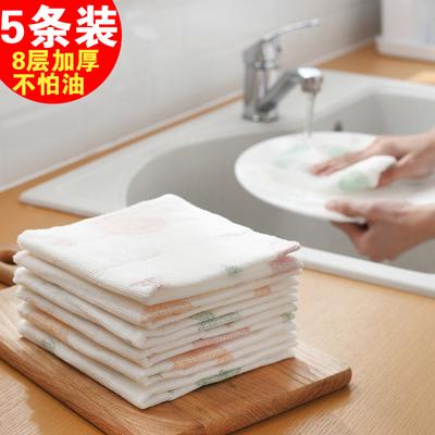 加厚吸水抹布5条装不沾油清洁布洗碗巾厨房不掉毛擦碗毛巾洗碗布