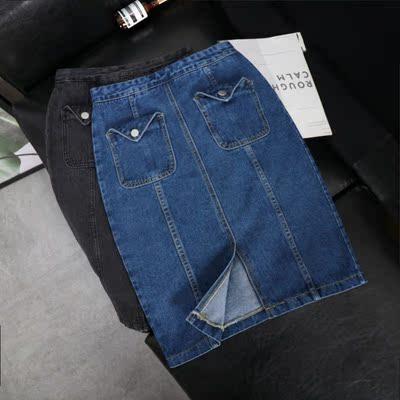 港味chic包臀半身裙女韩国开叉中长款百搭高腰显瘦牛仔裙8246
