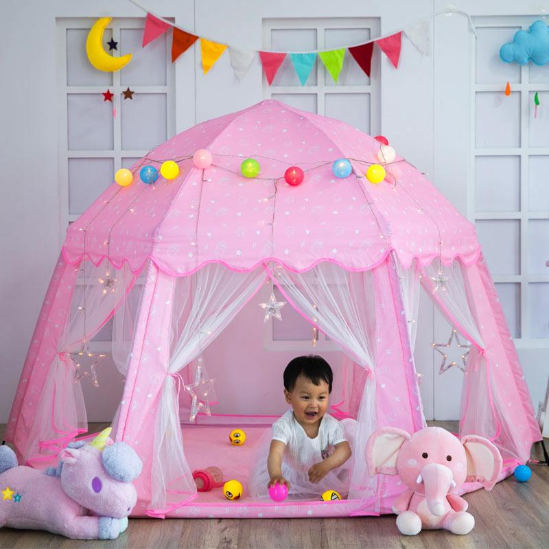 儿童帐篷室内防蚊城堡公主游戏屋家用六角玩具屋宝宝自动折叠女孩
