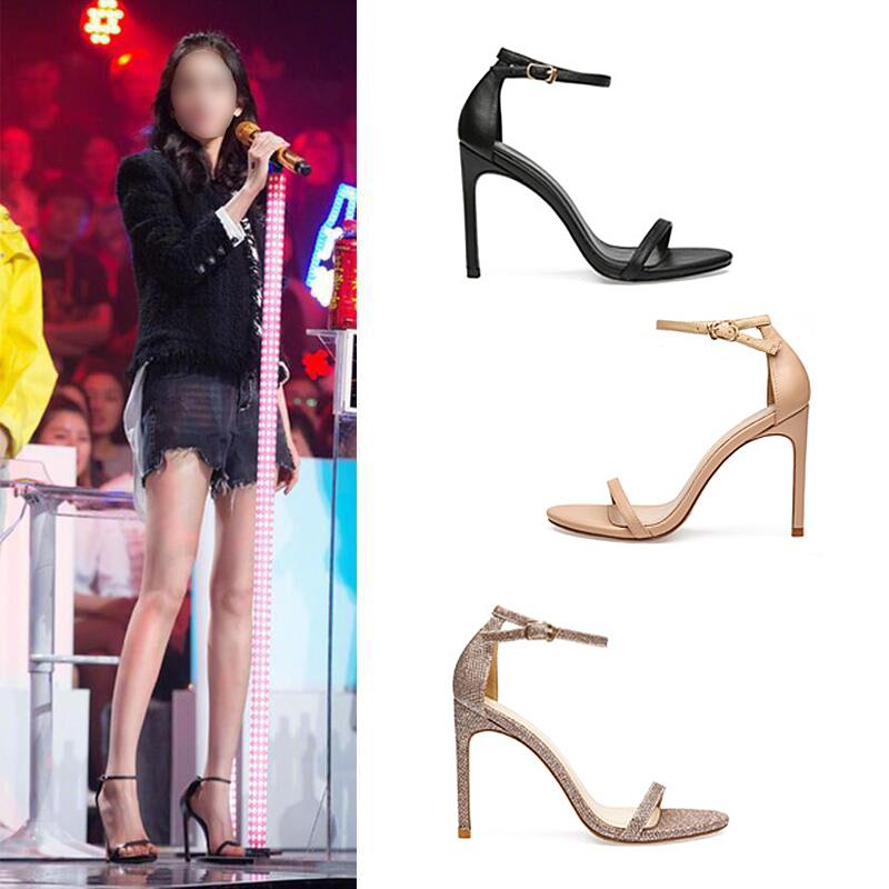 金色高跟鞋凉鞋性感