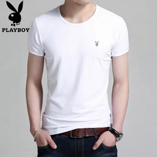 花花公子圆领短袖T恤男 夏季纯色男士白色体恤男装莫代尔棉上衣男
