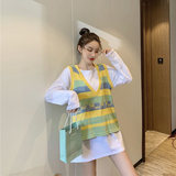Pregnant women's vest autumn new two-piece set of cotton long-sleeved T-shirt and rainbow vest pregnant women hit bottom shirt top