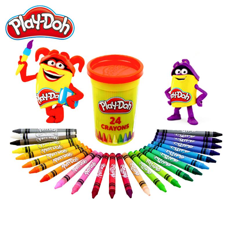 培乐多蜡笔24色罐装油画棒蜡笔儿童无毒炫彩棒涂鸦笔幼儿画画笔