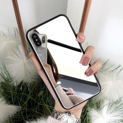 明星同款镜子玻璃镜面苹果x手机壳7p潮牌8plus新款女iphone6s挂绳