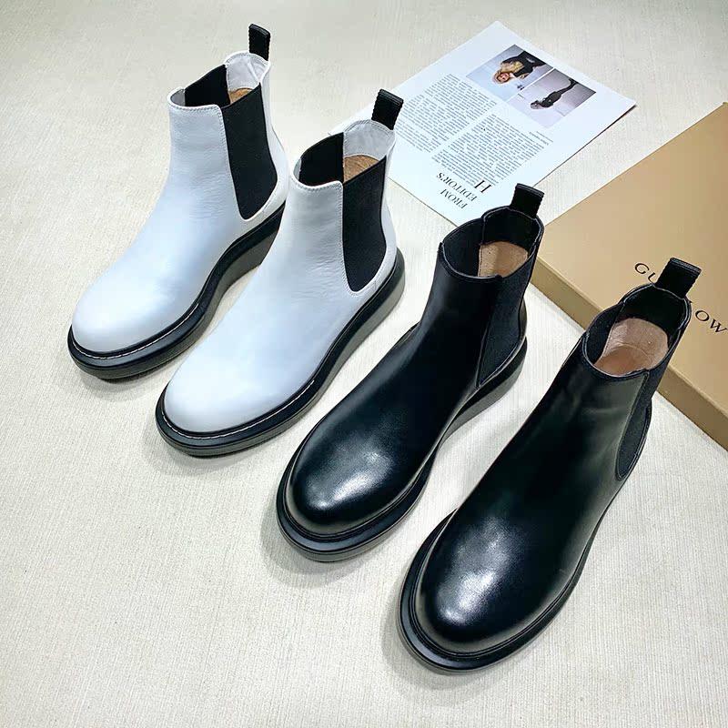 切尔西靴厚底靴子切尔西短靴女平底女靴英伦风大码女鞋真皮短筒靴