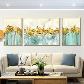 客厅三联画抽象装饰画沙发背景墙画北欧挂画美式油画现代酒店壁画