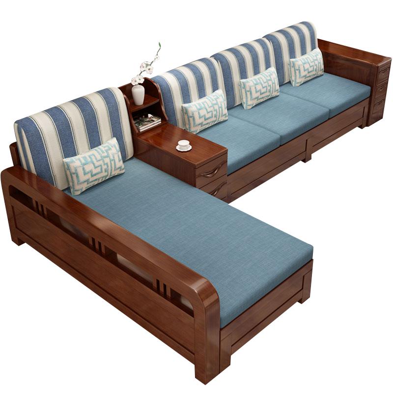 实木沙发组合冬夏两用布艺转角贵妃多功能储物新中式现代木制家具
