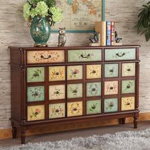 美式彩绘家具整体鞋柜隔断欧式乡村风格门厅柜玄关柜大容量鞋柜