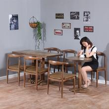 仿实木简约餐桌椅餐厅饭店快餐店桌椅组合食堂面馆小吃店一桌四椅