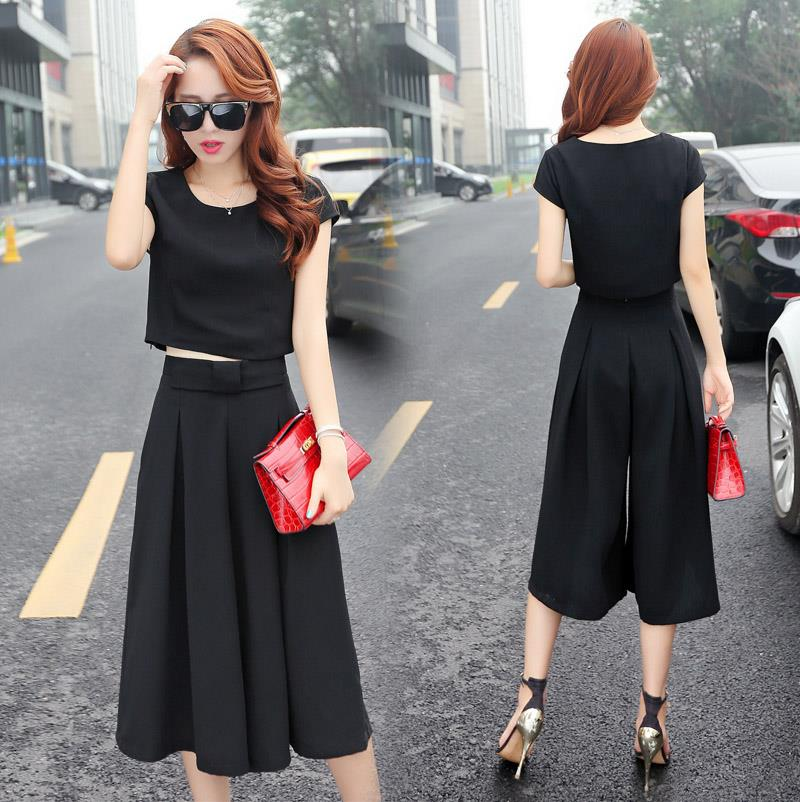 Young chopped sleeves 7 points pants first love girls wide leg pants gentle casual clothes office pure black