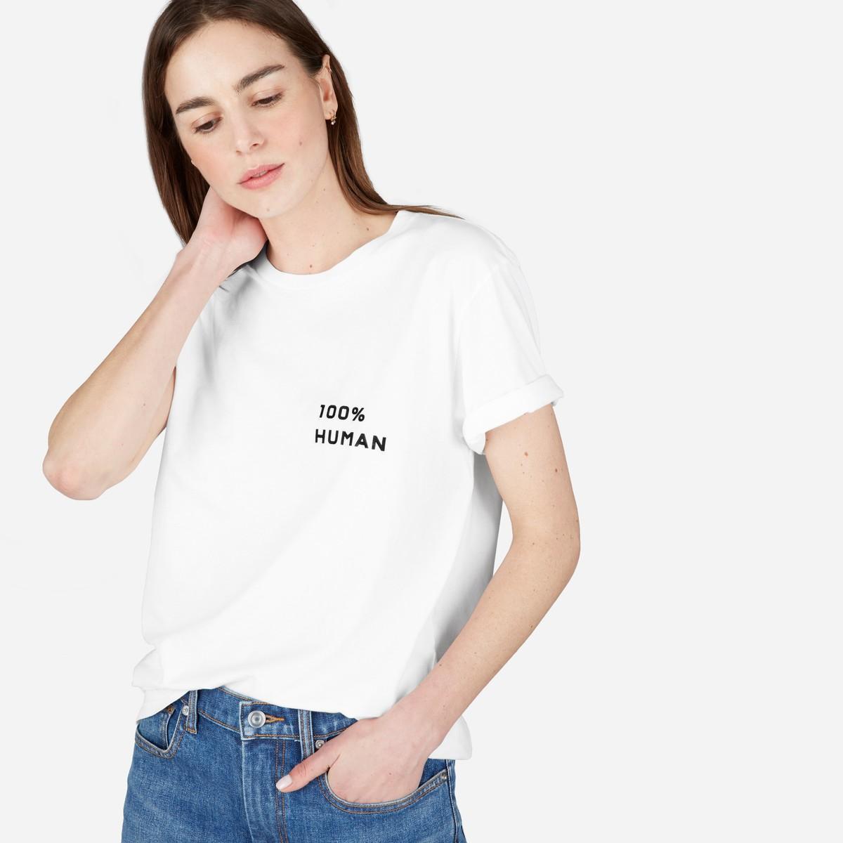 Everlane 100% Human 小标箱型女士宽松 t恤学生字母印花纯棉短袖