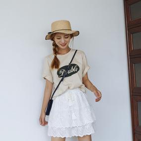 【OWOLE 朴瑟seul】刺绣重工棉质短裙女假两件半身裙3#