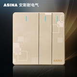 Wall concealed 86 type gold three open multi-control large board switch triple three three control halfway switch panel