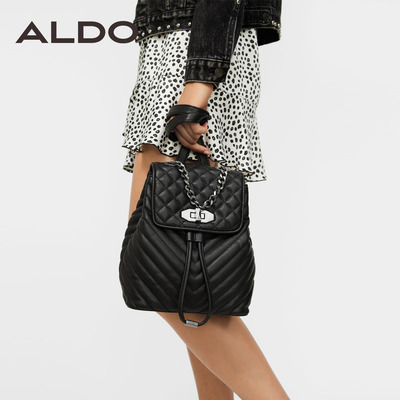 ALDO2018早秋新款女士時尚鍊條裝飾方格條紋雙肩包 SEVAECLYA