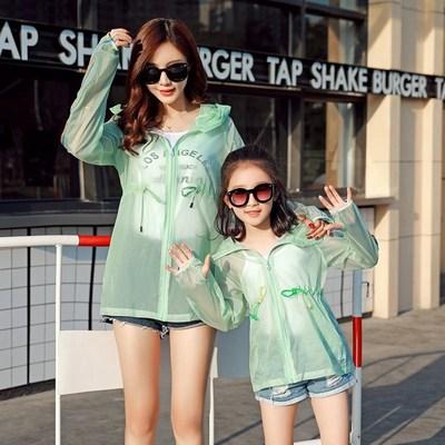 童装儿童防晒衣女童夏季透气空调衫亲子装母女防晒服中长款薄外套