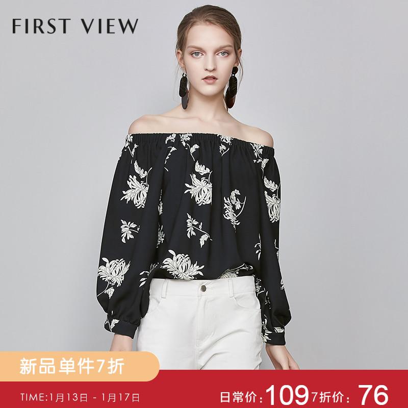 【春上新】first view19春T恤女时尚印花一字肩灯笼袖宽松上衣