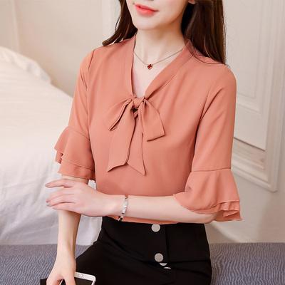 宽松t恤女短袖2018夏装新款蕾丝打底衫 韩版喇叭半袖百搭雪纺上衣