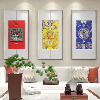 龍鳳壁畫新中式客廳沙發后背景墻裝飾畫酒店走廊掛畫三聯豎中國風旗艦店網址
