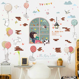 Children's wallpaper stickers self-adhesive dormitory bedroom living room wall decoration wallpaper glass removable wall stickers