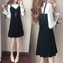韩范时尚大码长袖连衣裙秋冬季修身显瘦蝴蝶结假两件学生少女裙子
