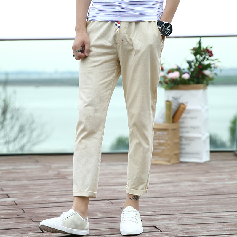 九分棉麻薄长裤