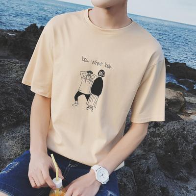 2018夏季新款港风t恤男短袖韩版潮流学生个性百搭宽松半袖衣服男