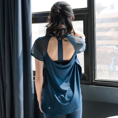 速干衣T恤罩衫网纱镂空运动短袖健身瑜伽服跑步训练上衣半袖夏女