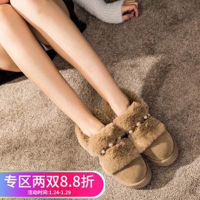 【9】涉趣冬季雪地靴女韩版百搭短筒靴珍珠甜美平底靴保暖靴子