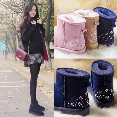 涉趣冬季短靴雪地靴子女短筒加厚防滑保暖真皮雪地靴