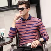 秋季男士长袖T恤中年翻领条纹保罗宽松纯棉潮流大码休闲polo衫