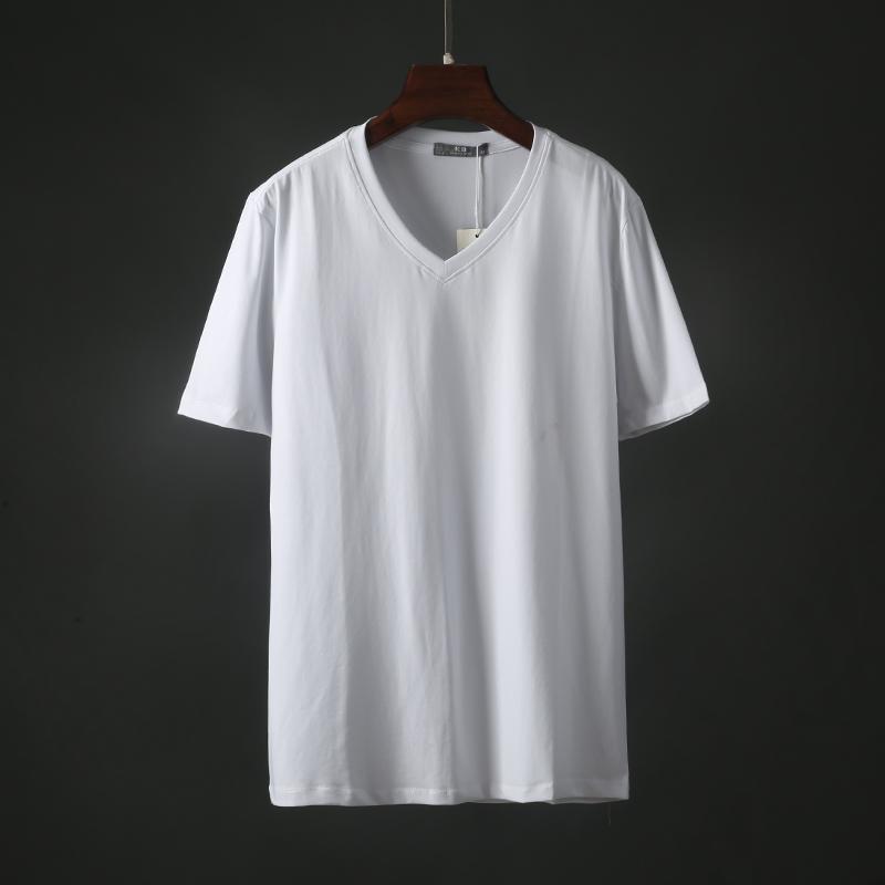 2019夏季新款男士短袖T恤韩版V领百搭时尚纯色净面简约男装潮3715