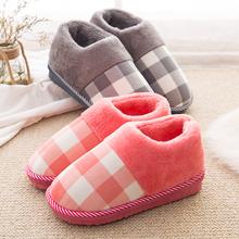 女厚底冬季居家居情侣保暖防滑毛毛室内保暖月子拖鞋 包跟棉拖鞋