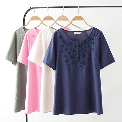 中老年加大码宽松苎显瘦麻刺绣短袖T恤衫胖妈妈装女士上衣打底衫