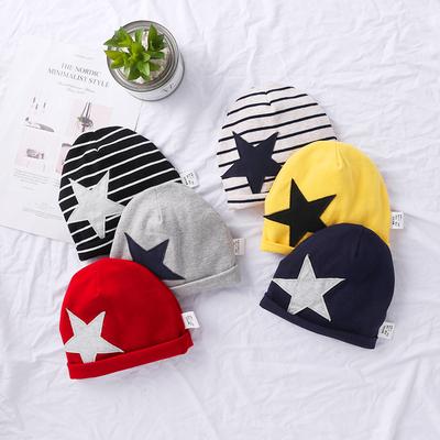 宝宝帽子秋冬童装帽儿童针织条纹套头毛女男童五角星保暖帽子冬款