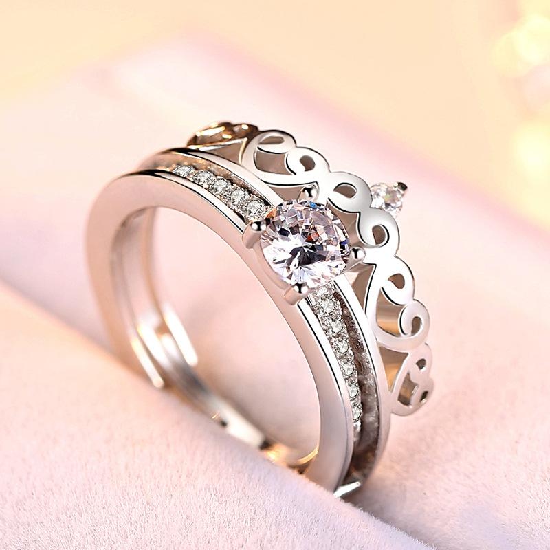 抖音网红同款戒指s925银 双层二合一皇冠女 可拆卸分离两件套组合