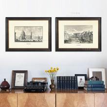 美式高档装饰画\北欧风格客厅建筑墙画\玄关书房过道横版挂画二联