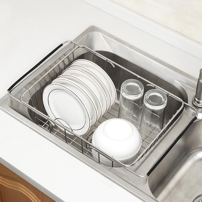 洗碗池沥水架不锈钢水槽滤水篮厨房置物架洗菜盆放碗碟架子可伸缩