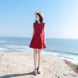 2018夏季新款女装韩版无袖A字修身显瘦气质名媛木耳边连衣裙裙子
