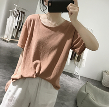 Ms. T-shirt with round collar New Summer Style Loose, Slender, Pure-coloured Fur Edge Student's Basic Simple Sleeve Top