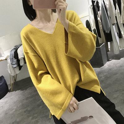 喇叭袖毛衣外套女秋冬季宽松大款v领显瘦大码韩国长袖套头针织衫