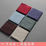 Six-in-one tang hand-made cotton linen double layer plus thick absorbent tea towel art tea rag Japanese-style Zen-style tea cloth package mail