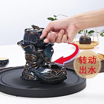 青花全半自动茶具套装陶瓷整套蜂巢镂空石磨功夫茶具懒人冲泡茶器