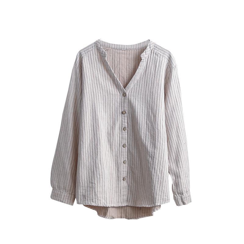咖咪雨春季新款棉麻复古文艺女士上衣开衫长袖前短后长竖条纹衬衫