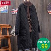 2017冬季新款 韩范文艺气质显瘦外套菱形格中长款羽绒棉棉衣 女