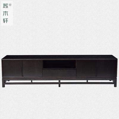 苏木轩新中式简约实木电视柜 水曲柳客厅地柜装饰柜家具定制YG29爆款