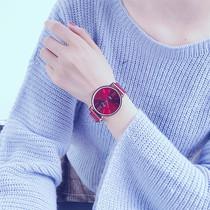 韩版潮流大学生简约免费刻字男女真皮带1314名仕爵情侣手表一对价